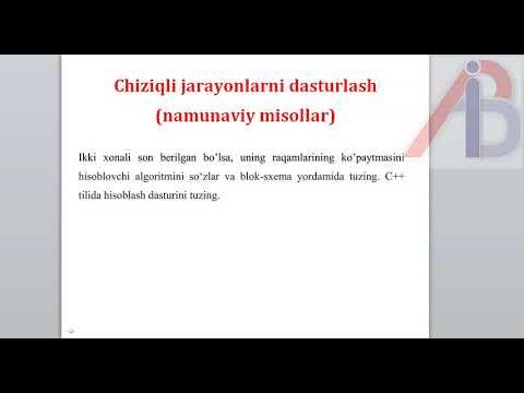 C++ dasturlash tilida chiziqli jarayonlarni dasturlash