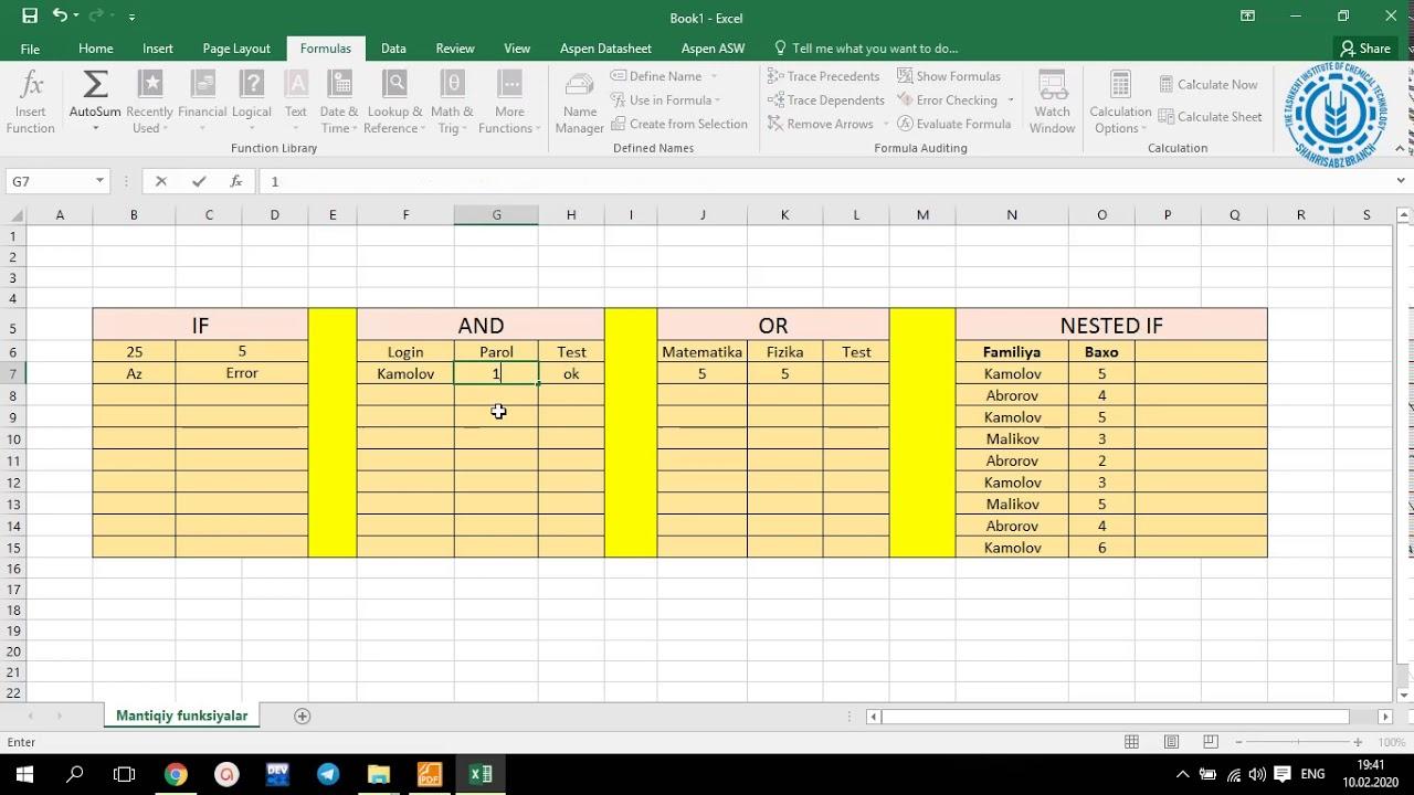 MS Excelda mantiqiy funksiyalar