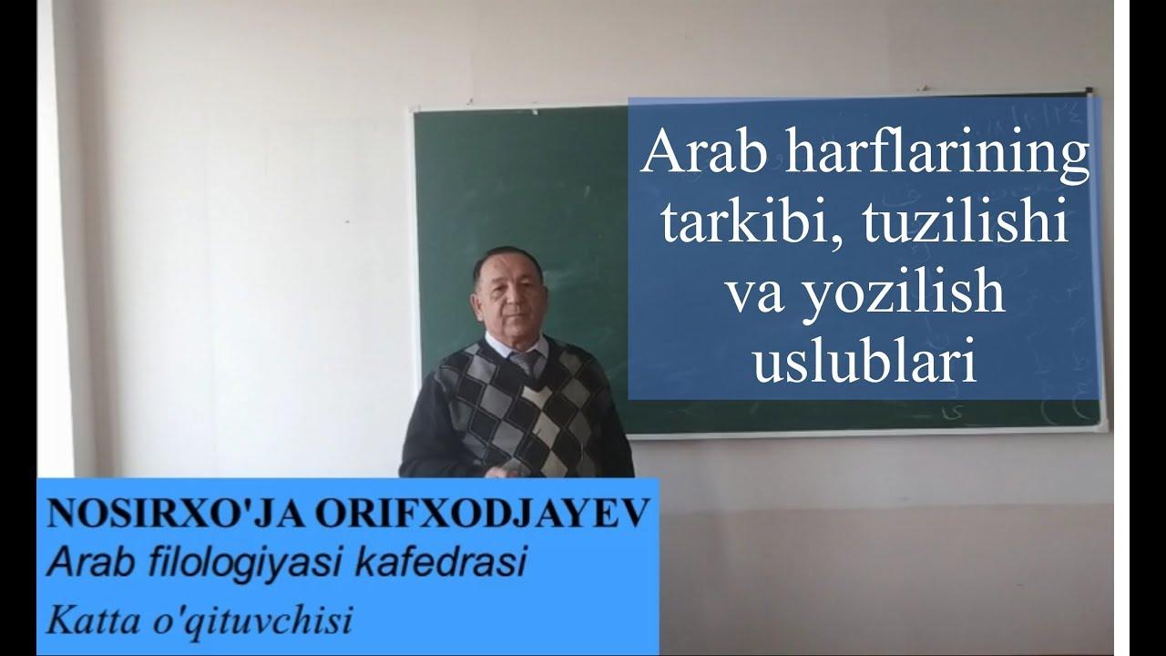 Arab harflarining tarkibi, tuzilishi va yozilish uslublari (2-dars)
