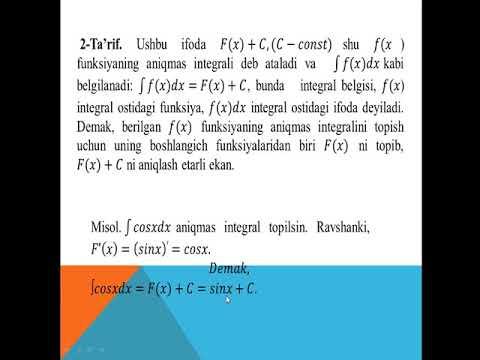Boshlang'ch funksiya va aniqmas integral