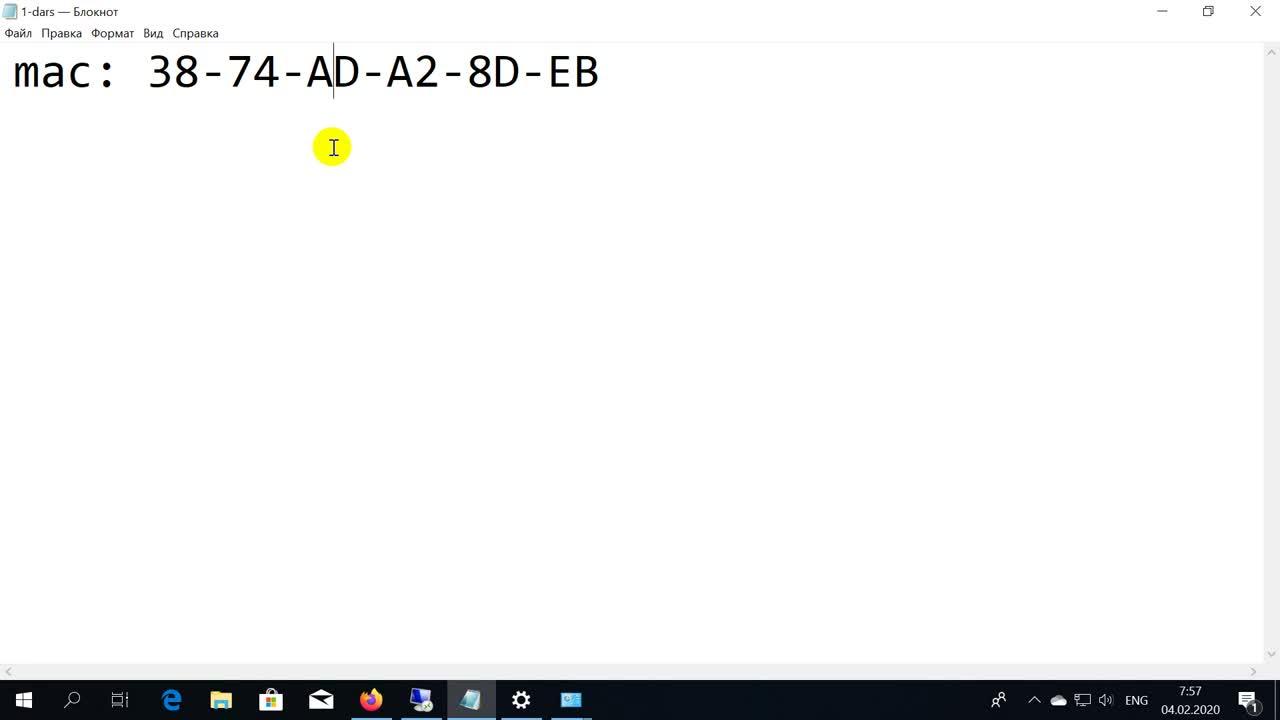 Mac va IP Adresslar to'g'risida tushunch